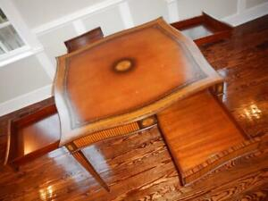 $4500 EUC MAITLAND SMITH Federal Hidden-Drawer Inlaid Tooled-Leather Game Table