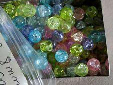 Translucent Crackle Glass Beads Approximately 700 pcs 8mm Round Pastel Multi