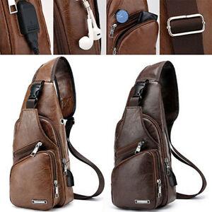 Herren Leder Schulter Brust Sling Bag Messenger Cross Body mit USB Reisetasche