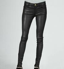NWT $998 CURRENT ELLIOTT Stiletto Zipper Ankle Skinny Leather Pants, Black, 27