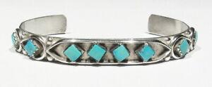 """Vintage Signed Esalalio Zuni 925 Silver 8 Sleeping Beauty Turquoise Bracelet 6"""""""