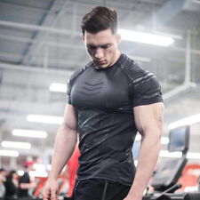 Fashion Compression Quick Dry Running Gym Fitness Short Sleeves Tight for Men
