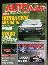 AUTO HEBDO 9/07/1986; Honda Civic CRX 16i/ GP de France/ Volvo 480 ES Vs P1800 E