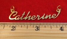 "14KT GOLD EP ""CATHERINE"" PERSONALIZED NAME PLATE WORD CHARM PENDANT 6072"