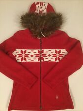 Spyder Womens  Midweight Core Sweater Jacket Hoody Size LARGE Red Snowflakes