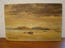 Signé Roger Baudry  , paysage marin d 'Extrême- Orient , 26,8 x 17,7 cm