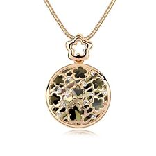 18K Gold Plated Made With Swarovski Crystal Round Shaped Flowers Long Necklace