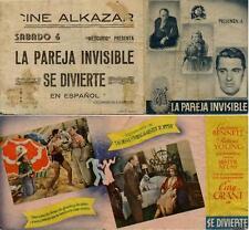 Programa PUBLICITARIO de CINE: La Pareja Invisible se Divierte. CARY GRANT.