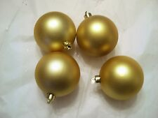 4 GOLD MATTE FINISH 3 INCH SHATTER RESISTANT CHRISTMAS MARDI GRAS ORNAMENTS