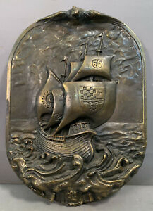Antique ART DECO Era COPPER CLAD Old BRONZED Nautical MASTED SHIP Wall PLAQUE
