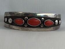 Cuff Bracelet Frank Patania Sterling Coral MidCentury Modernist Signed Original
