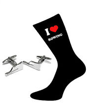 I Love Rowing Socks & Rowing Oars Cufflinks Gift Set