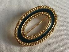 Vintage Monet Signed Green Enamel Gold Plated Brooch Oval Shaped 90s