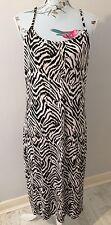 H&M Strappy Black White Light Pink Patterned Long Summer Dress Size L