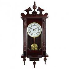 "BEDFORD 31"" Cherry Oak Wood Grandfather Wall Clock 4 Chimes and Pendulum NEW"