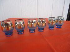 6 bohemia glass art deco shot port glasses blue gold polka dot