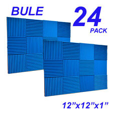"""24 Pack 12x12x1""""BLUE  Acoustic Wedge Studio Soundproofing Foam Wall Tiles"""