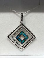 Australian Inlay Opal Pendant Sterling Silver Setting - Square
