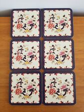 MASONS IRONSTONE BLUE MANDALAY SET OF 6 TABLE COASTERS BOXED VINTAGE PLACEMAT