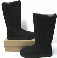NIB Auth UGG Australia Classic Cuff Tall Boots Suede 1016420 Black Womens Sz 6