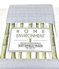 Lt.Gray KING Sheet Set 100% BAMBOO MUSLIN Home Environment LIGHTWEIGHT SilkySoft