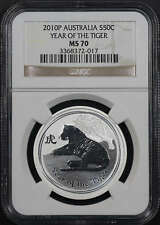 2010-P Australia Silver 50C Year of The Tiger NGC MS-70