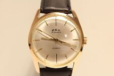 """VINTAGE RARE NICE CLASSIC PINK GOLD PLATED MEN'S MECHANICAL WATCH """"REX"""" 17 J."""