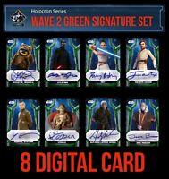 HOLOCRON Wave 2 GREEN SIGNATURE 8 CARD SET REY++ Topps STAR WARS DIGITAL TRADER