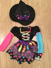 Girls Toddler Miss Matched Witch Halloween Fancy Dress Outfit 3-4 (dress+hat)