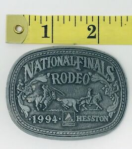 1994 Hesston National Finals Rodeo Pewter Team Roping Belt Buckle NFR