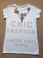 BNWOT DUNNES /GIRL'S T SHIRT/ WHITE COTTON/ CHIC PRINT/ NECKLACE DESIGN/ AGE 12