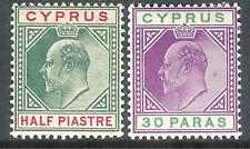 Cyprus 1904 green/carmine 1/2p purple/green 30paras  multi-crown CA mint SG62/63