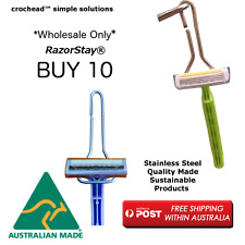 Stainless Steel Razor Holder -  RazorStay fits chrome shower stands - 10 pack