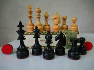 VINTAGE CHESS SET CLUB PHILIPPINES STAUNTON  K 115  mm + OLD CIGAR BOX NO BOARD