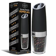 Gravity Electric Pepper Grinder or Salt Mill Blue LED Light Automatic Operati...