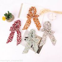 Floral Bow Long Hair Scrunchies Hair Rope Ponytail Holder Women Hair Accessories