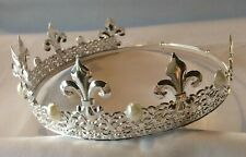 King's Crown - Silver plated metal with faux Pearls - adjustable