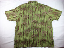 Tommy Bahama Hawaiian Original Silk Shirt Tiki Palm Beach Size XL Green Brown
