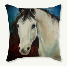HORSE & WESTERN GIFTS HOME DECOR WHITE HORSE HEAD CUSHION COVER 18 inch 45cms