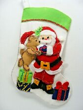 "Santa With Bear & Gifts 15"" Christmas Stocking FINISHED!"