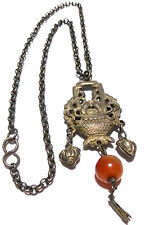 ANTIQUE OLD CHINESE CHINA STERLING SILVER ORNATE CARNELIAN DANGLE NECKLACE