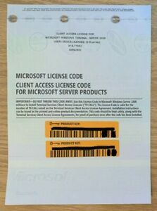10 CAL Microsoft Windows Server 2008 Remote Desktop RDS Terminal Server Services