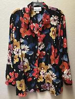 David Dart Blouse 100% Silk Black Floral Print Women's Size Large Shirt