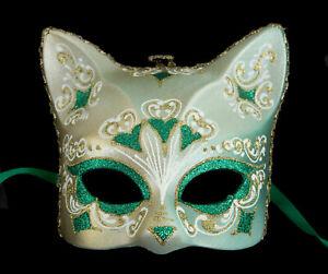 Masque de Venise Chat vert florale Gatto Artisanat Luxe Peint à la main 2009