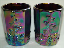 pair of purple carnival glass Grape cable pattern tumblers cups goblet amethyst