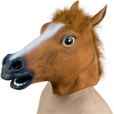 USA Halloween Horse Head Masks Latex Animal Costume Prop Gangnam Party Brown
