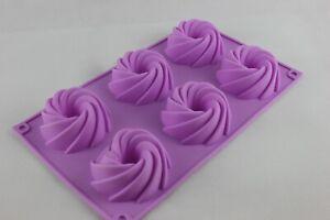 Swirls bunt muffin mould 6 cavity soap candle sugarcraft cake cupcake baking