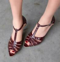 US4-12 Womens Open Toe Hollow Out Sandals High Heel Patent Leather T-Strap Shoes