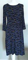 Hobbs Blue Bird Print Dress Jersey Stretch Bodycon 3/4 Sleeve UK 10 Work Smart