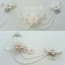 Bridal headpiece, hairpiece Swarovski crystals pearls back drapes lace wedding